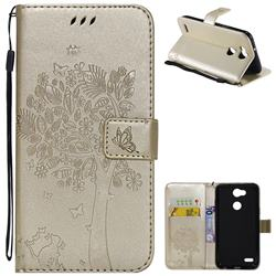 Embossing Butterfly Tree Leather Wallet Case for LG X Power 3 - Champagne