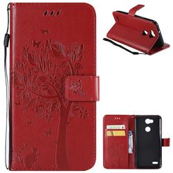 Embossing Butterfly Tree Leather Wallet Case for LG X Power 3 - Red