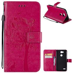 Embossing Butterfly Tree Leather Wallet Case for LG X Power 3 - Rose