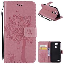 Embossing Butterfly Tree Leather Wallet Case for LG X Power 3 - Pink