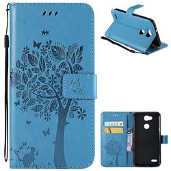 Embossing Butterfly Tree Leather Wallet Case for LG X Power 3 - Blue