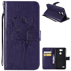 Embossing Butterfly Tree Leather Wallet Case for LG X Power 3 - Purple