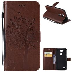 Embossing Butterfly Tree Leather Wallet Case for LG X Power 3 - Coffee