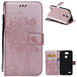Embossing Butterfly Tree Leather Wallet Case for LG X Power 3 - Rose Pink