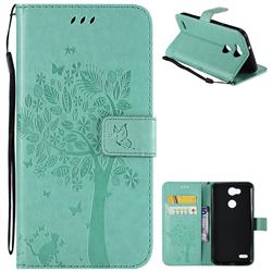 Embossing Butterfly Tree Leather Wallet Case for LG X Power 3 - Cyan