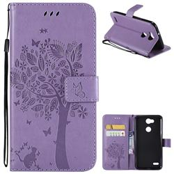 Embossing Butterfly Tree Leather Wallet Case for LG X Power 3 - Violet
