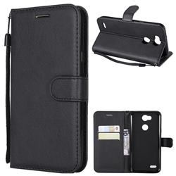 Retro Greek Classic Smooth PU Leather Wallet Phone Case for LG X Power 3 - Black