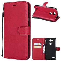 Retro Greek Classic Smooth PU Leather Wallet Phone Case for LG X Power 3 - Red