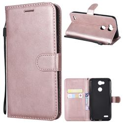 Retro Greek Classic Smooth PU Leather Wallet Phone Case for LG X Power 3 - Rose Gold
