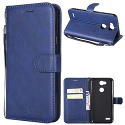 Retro Greek Classic Smooth PU Leather Wallet Phone Case for LG X Power 3 - Blue