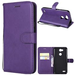 Retro Greek Classic Smooth PU Leather Wallet Phone Case for LG X Power 3 - Purple