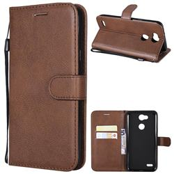 Retro Greek Classic Smooth PU Leather Wallet Phone Case for LG X Power 3 - Brown
