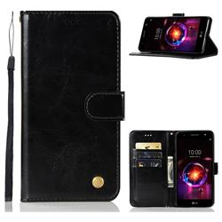 Luxury Retro Leather Wallet Case for LG X Power 3 - Black