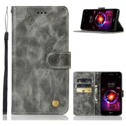 Luxury Retro Leather Wallet Case for LG X Power 3 - Gray