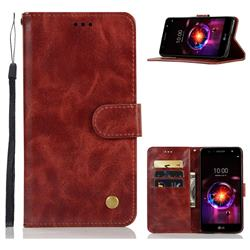 Luxury Retro Leather Wallet Case for LG X Power 3 - Wine Red