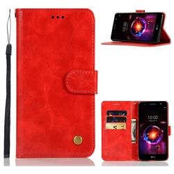 Luxury Retro Leather Wallet Case for LG X Power 3 - Red