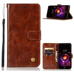 Luxury Retro Leather Wallet Case for LG X Power 3 - Brown