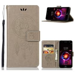 Intricate Embossing Owl Campanula Leather Wallet Case for LG X Power 3 - Grey