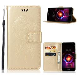 Intricate Embossing Owl Campanula Leather Wallet Case for LG X Power 3 - Champagne