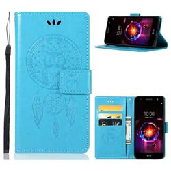 Intricate Embossing Owl Campanula Leather Wallet Case for LG X Power 3 - Blue