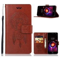 Intricate Embossing Owl Campanula Leather Wallet Case for LG X Power 3 - Brown
