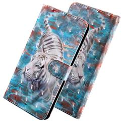 White Tiger 3D Painted Leather Wallet Case for LG X Power 3