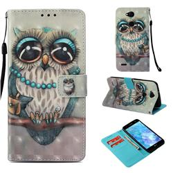 Sweet Gray Owl 3D Painted Leather Wallet Case for LG X Power 3