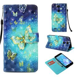 Gold Butterfly 3D Painted Leather Wallet Case for LG X Power 3