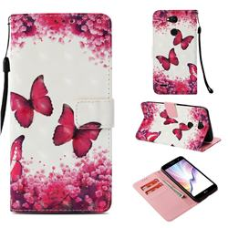 Rose Butterfly 3D Painted Leather Wallet Case for LG X Power 3