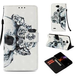 Skull Flower 3D Painted Leather Wallet Case for LG X Power 3