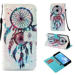 ColorDrops Wind Chimes 3D Painted Leather Wallet Case for LG X Power 3