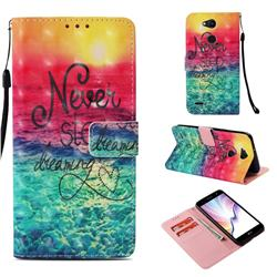 Colorful Dream Catcher 3D Painted Leather Wallet Case for LG X Power 3