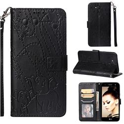 Embossing Fireworks Elephant Leather Wallet Case for LG X Power 3 - Black