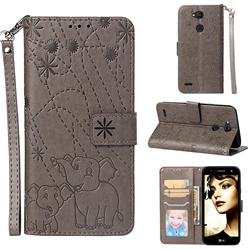 Embossing Fireworks Elephant Leather Wallet Case for LG X Power 3 - Gray