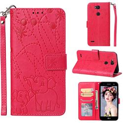 Embossing Fireworks Elephant Leather Wallet Case for LG X Power 3 - Red