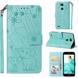 Embossing Fireworks Elephant Leather Wallet Case for LG X Power 3 - Green