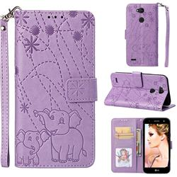 Embossing Fireworks Elephant Leather Wallet Case for LG X Power 3 - Purple