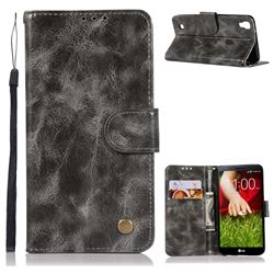 Luxury Retro Leather Wallet Case for LG X Style K200DS LGK200DSK L56VL - Gray