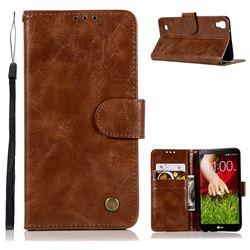 Luxury Retro Leather Wallet Case for LG X Style K200DS LGK200DSK L56VL - Brown