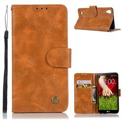Luxury Retro Leather Wallet Case for LG X Style K200DS LGK200DSK L56VL - Golden