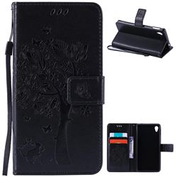 Embossing Butterfly Tree Leather Wallet Case for Sony Xperia M4 Aqua E2303 E2333 E2353 - Black