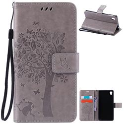 Embossing Butterfly Tree Leather Wallet Case for Sony Xperia M4 Aqua E2303 E2333 E2353 - Grey