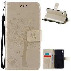 Embossing Butterfly Tree Leather Wallet Case for Sony Xperia M4 Aqua E2303 E2333 E2353 - Champagne