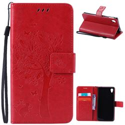 Embossing Butterfly Tree Leather Wallet Case for Sony Xperia M4 Aqua E2303 E2333 E2353 - Red