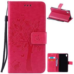 Embossing Butterfly Tree Leather Wallet Case for Sony Xperia M4 Aqua E2303 E2333 E2353 - Rose