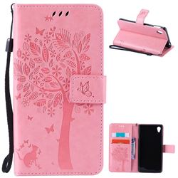 Embossing Butterfly Tree Leather Wallet Case for Sony Xperia M4 Aqua E2303 E2333 E2353 - Pink