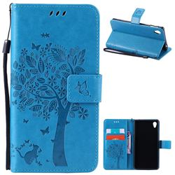 Embossing Butterfly Tree Leather Wallet Case for Sony Xperia M4 Aqua E2303 E2333 E2353 - Blue