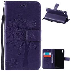 Embossing Butterfly Tree Leather Wallet Case for Sony Xperia M4 Aqua E2303 E2333 E2353 - Purple