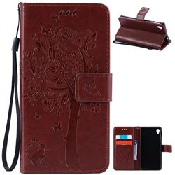 Embossing Butterfly Tree Leather Wallet Case for Sony Xperia M4 Aqua E2303 E2333 E2353 - Brown