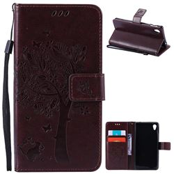 Embossing Butterfly Tree Leather Wallet Case for Sony Xperia M4 Aqua E2303 E2333 E2353 - Coffee